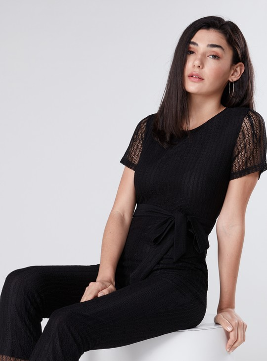 Textured Cropped Jumpsuit with Tie Up