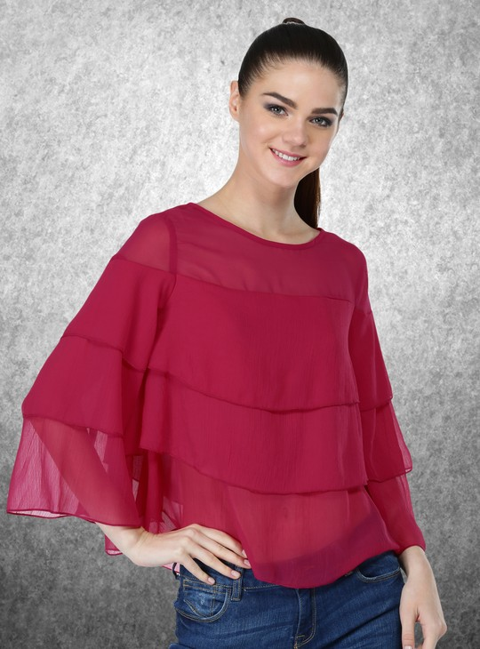 3/4 Sleeves Ruffle Top with Round Neck