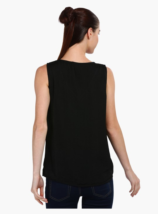 Embroidered Sleeveless Top with V-Neck