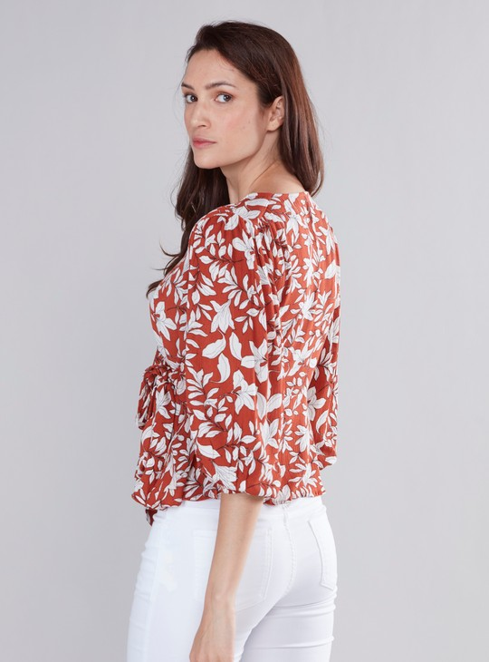 Floral Printed Wrap Top with V-neck and 3/4 Sleeves