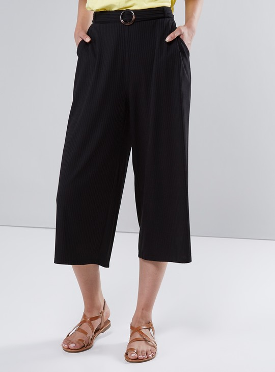 Ribbed Culottes with Pocket Detail and Horn Buckle