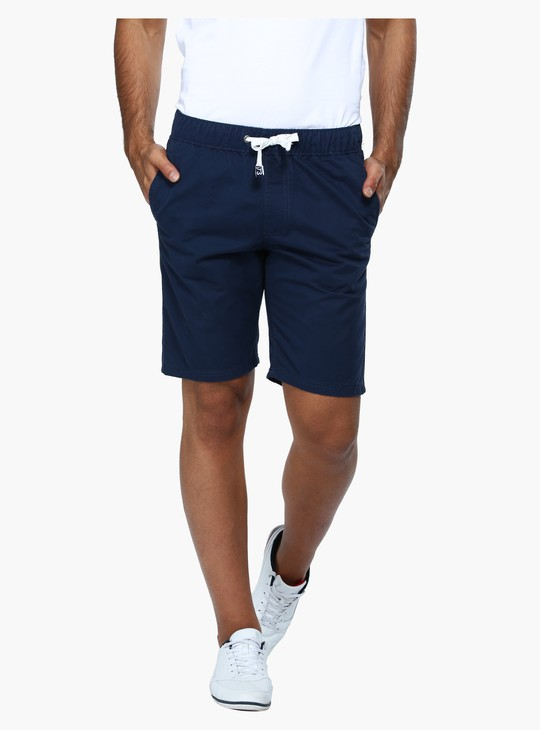 Straight Fit Mid Rise Woven Shorts with Elasticised Waistband