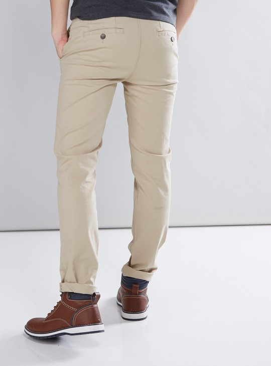 Solid Chinos with Button Closure and Pocket Detail