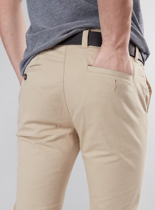 Full Length Mid-Rise Chino Pants with Pocket Detail