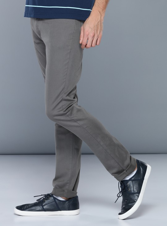 Full Length Mid Rise Pants with Button Closure