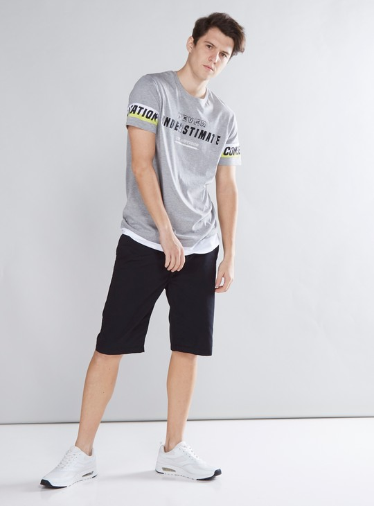 Solid Shorts with 4-Pockets and Button Closure