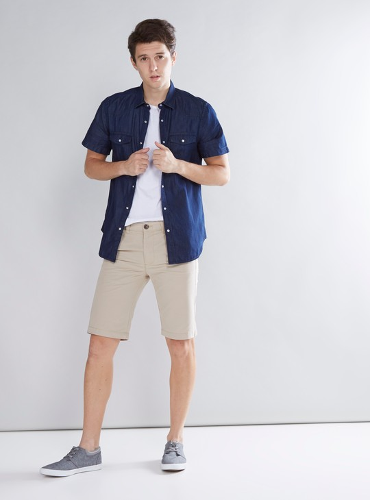 Solid Chino Shorts with 4-Pockets and Button Closure