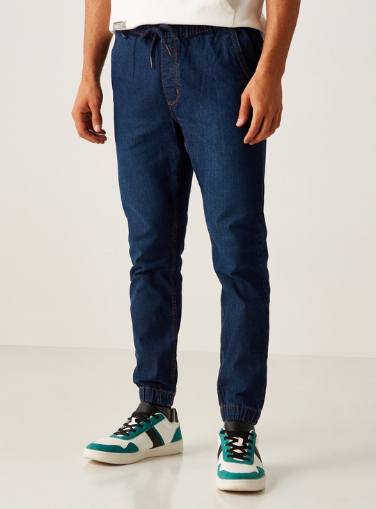 Full Length Denim Pants in Slim Fit with Cuffed Hem and Pocket Detail