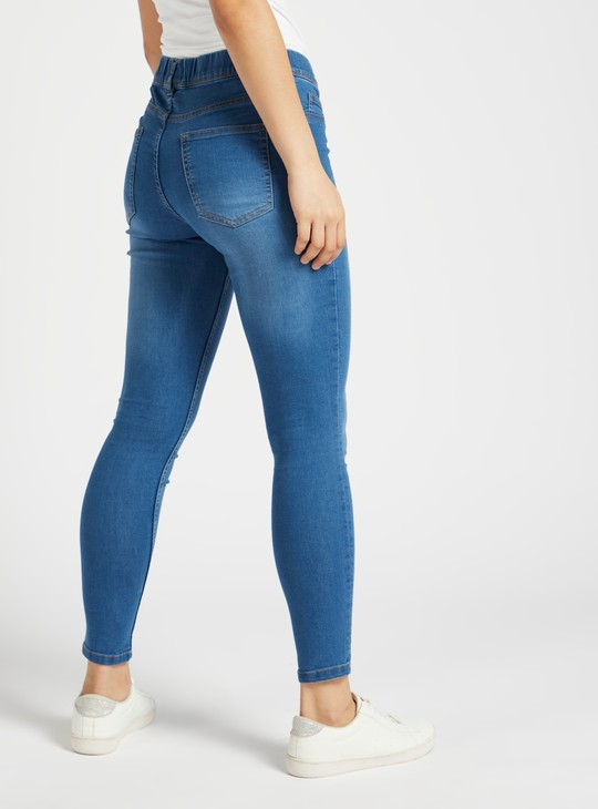 Super Skinny Plain Mid Rise Jeggings with Elasticated Waistband