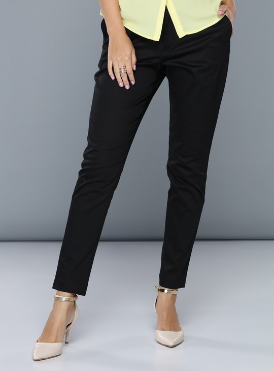 Full Length Mid-Rise Trousers in Straight Fit