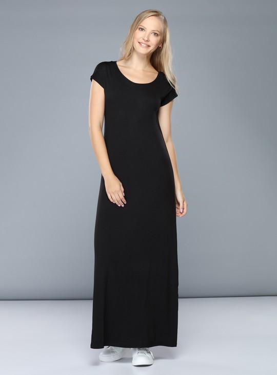 Round Neck Maxi Dress with Cap Sleeves