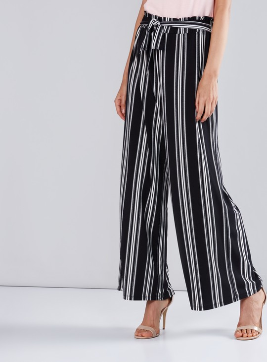 Striped Palazzo Pants with Paperbag Waist and Tie Ups