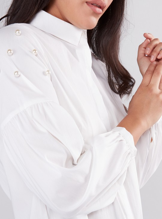Embellished Long Sleeve Shirt with Complete Placket