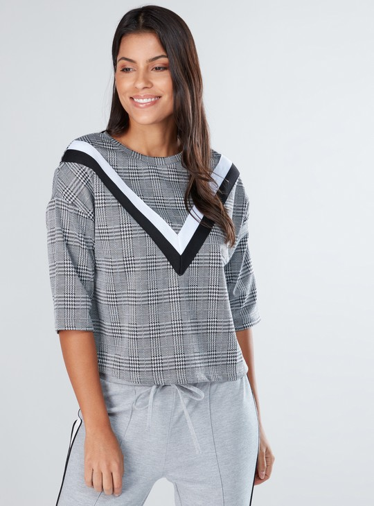Chequered Top with Patch Detail and Short Sleeves