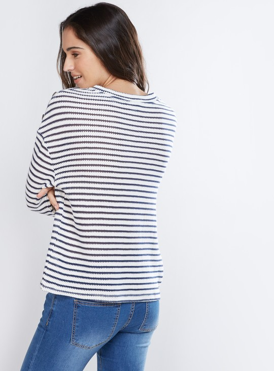 Striped Top with Long Sleeves and Button Detail