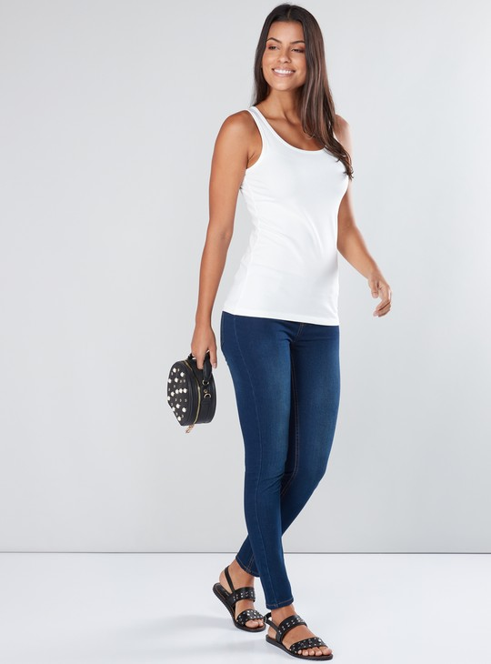 Full Length Denim Jeggings with Elasticised Waistband in Slim Fit