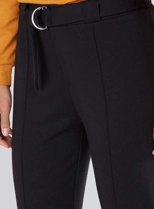 Cropped Pants with Elasticised Waistband