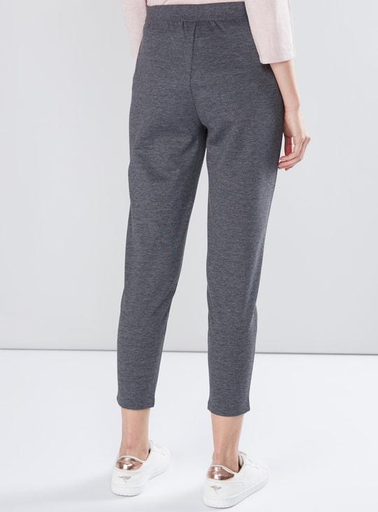Melange Printed Ponte Pants with Elasticised Waistband