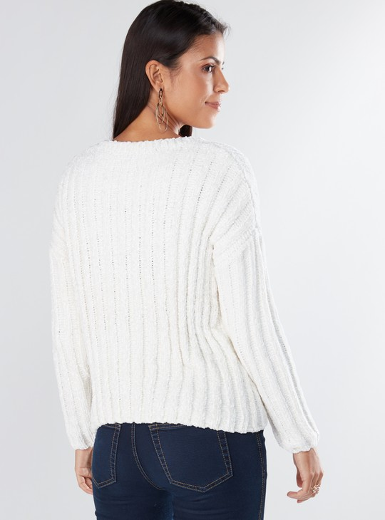 Textured Sweater with Round Neck and Drop Shoulder Sleeves