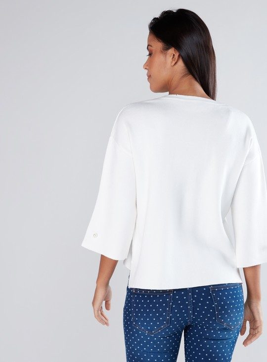 Pearl Detail Top with Round Neck