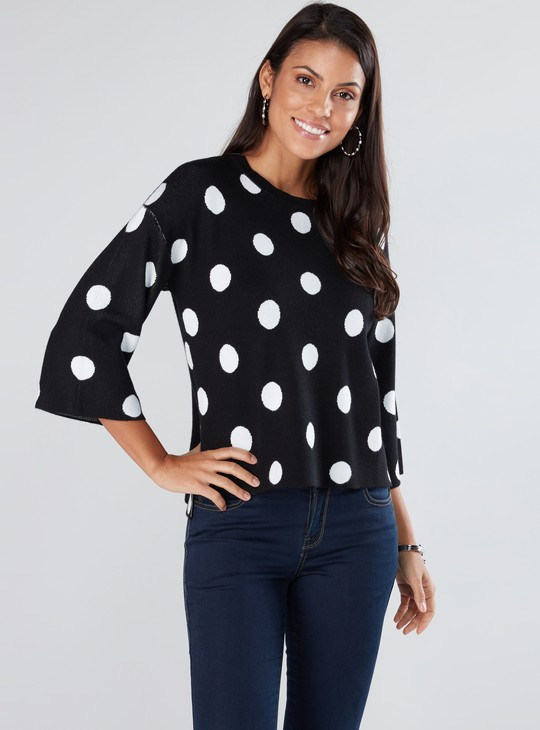 Polka Dot Printed Top with Round Neck and 3/4 Sleeves