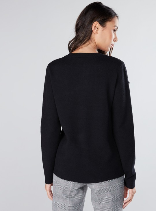 Embellished Top with Round Neck and Long Sleeves