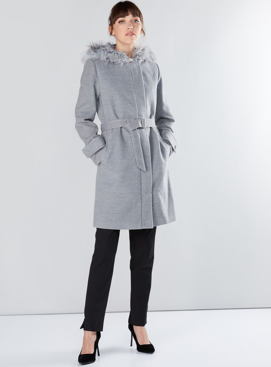Plush Detail Parka Jacket with Long Sleeves and Hood