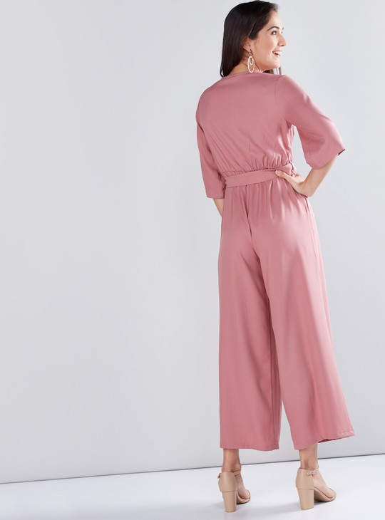 V-Neck Jumpsuit with Short Sleeves and Tie Up Belt