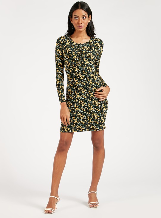 Printed Midi Bodycon Dress with Long Sleeves