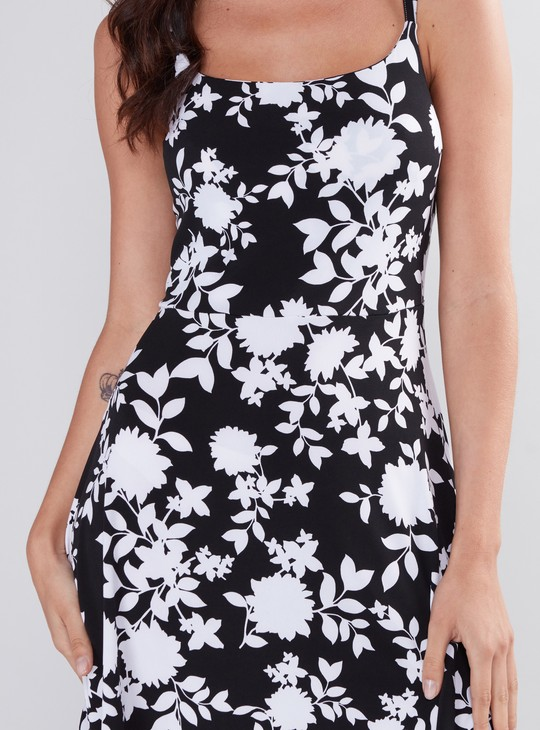Floral Printed Dress with Spaghetti Straps