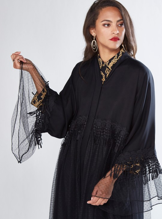 Tulle Abaya with Lace Detail