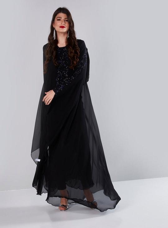Stone Embellished Abaya with Extended Sleeves
