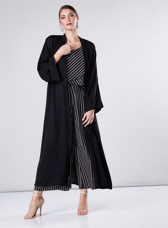 Embellished Abaya with Flared Sleeves