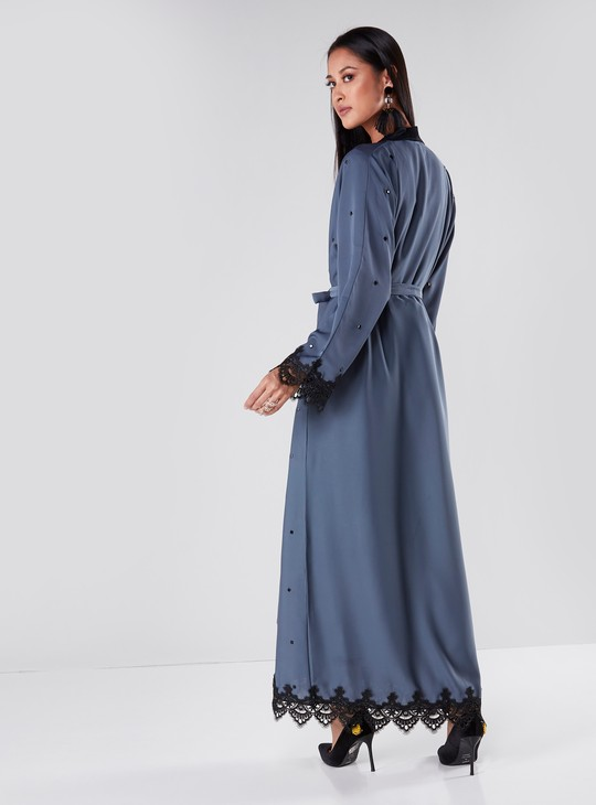 Full Length Lace Detail Abaya with Embellishments