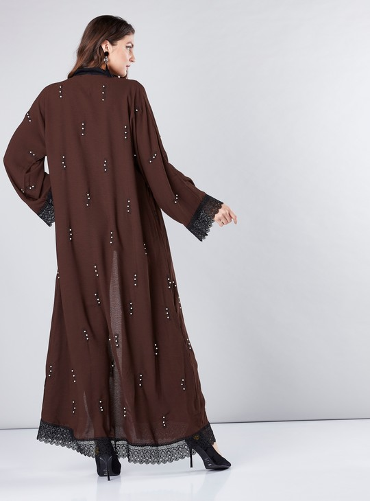 Full Length Abaya with Pearl and Lace Detail