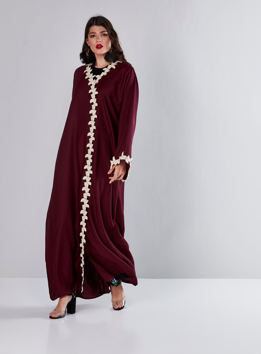 Lace Detail Abaya with V-Neck and Front Button Up Closure