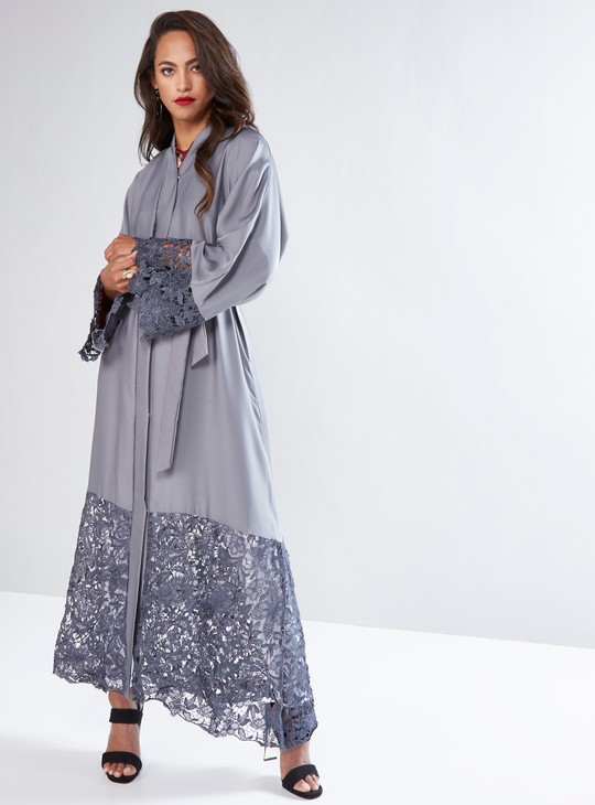 Full Length Abaya with Lace Panels