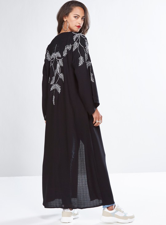 Embroidered Full Length Abaya with Flared Sleeves