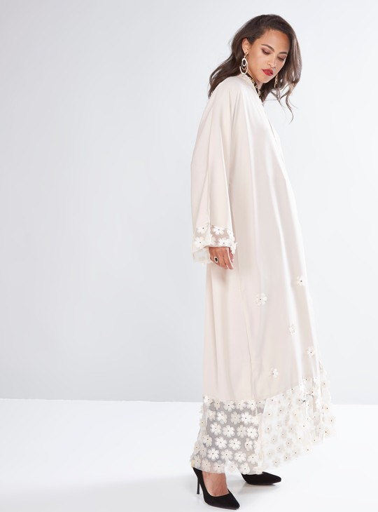 Full Length Abaya with Floral Applique Detail