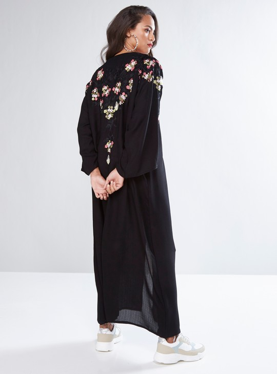 Floral Embroidered Full Length Abaya