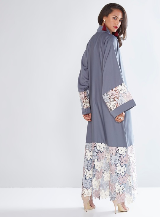 Full Length Abaya with Lace Panels and Front Button Up Closure