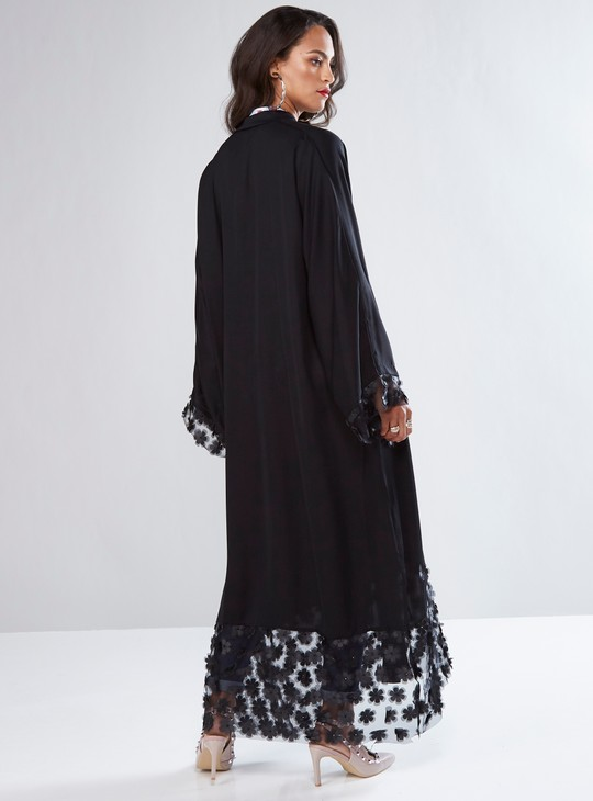 Full Length Abaya with Floral Appliques and Front Button Up Closure