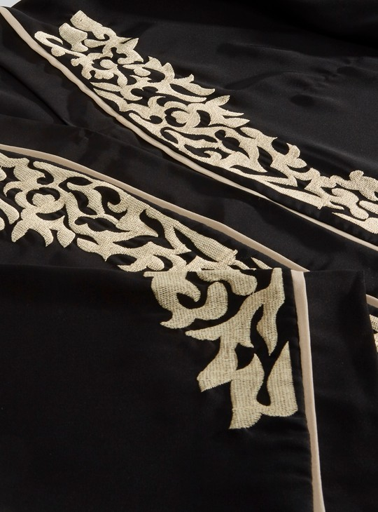 Full Length Embroidered Abaya with Piping Detail and Front Closure
