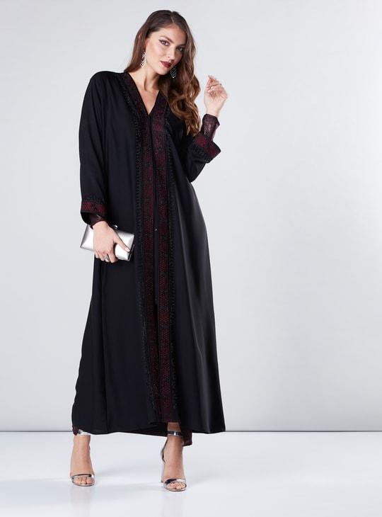 Full Length Embellished Abaya with Embroidered Border