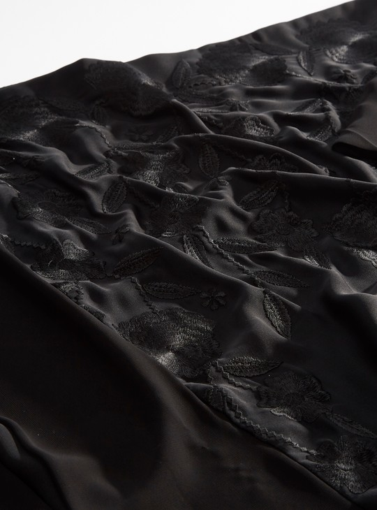 Embroidered Abaya with Tie Ups