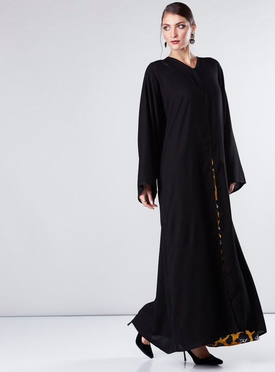 Open Front Abaya with V-Neck and Long Sleeves