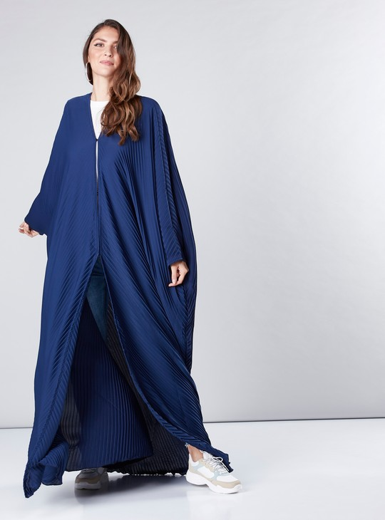 Pleated Farasha Cut Abaya with V-Neck