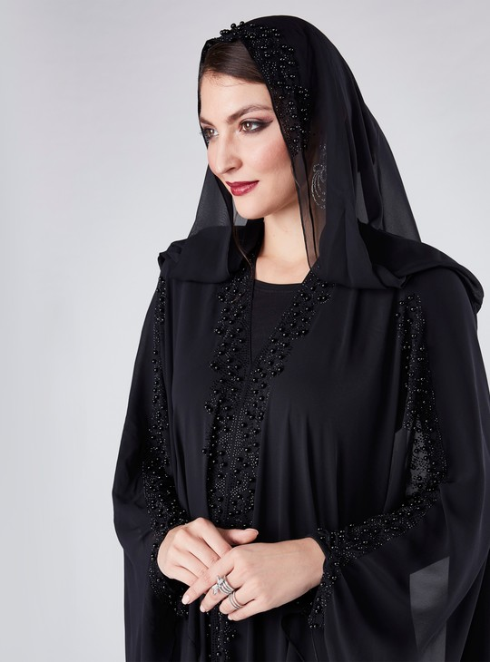 Embellished Farasha Cut Abaya with V-Neck