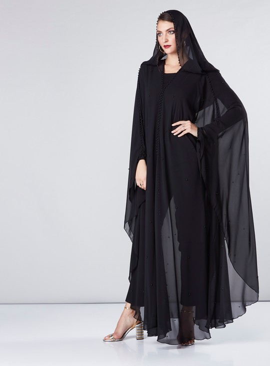 Embellished Farasha Cut Abaya with Pearl Detail