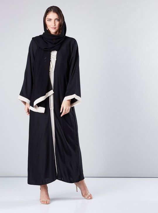 Abaya with Long Flared Sleeves and Contrast Lining